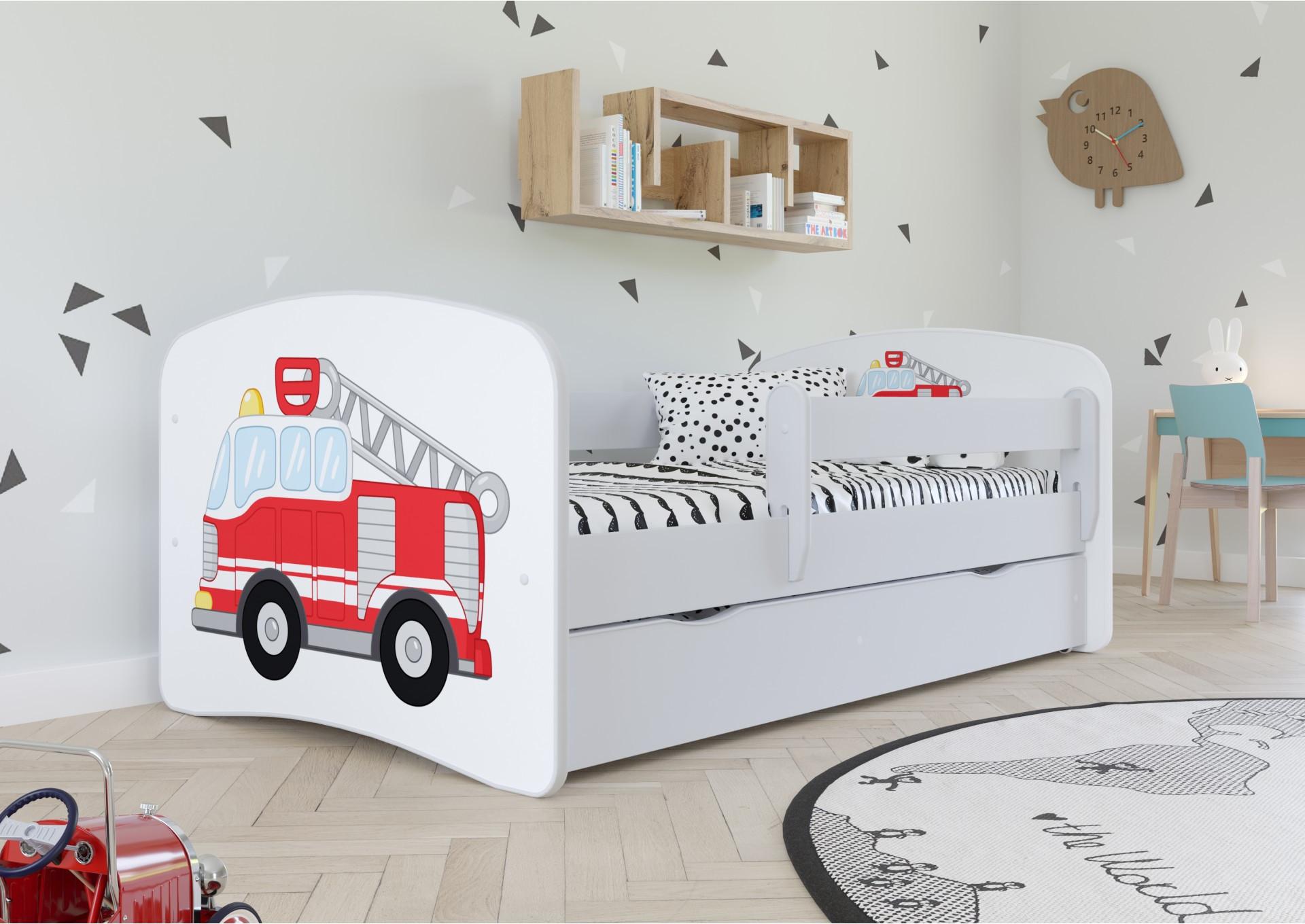 Łóżko dziecięce z barierką straż pożarna
