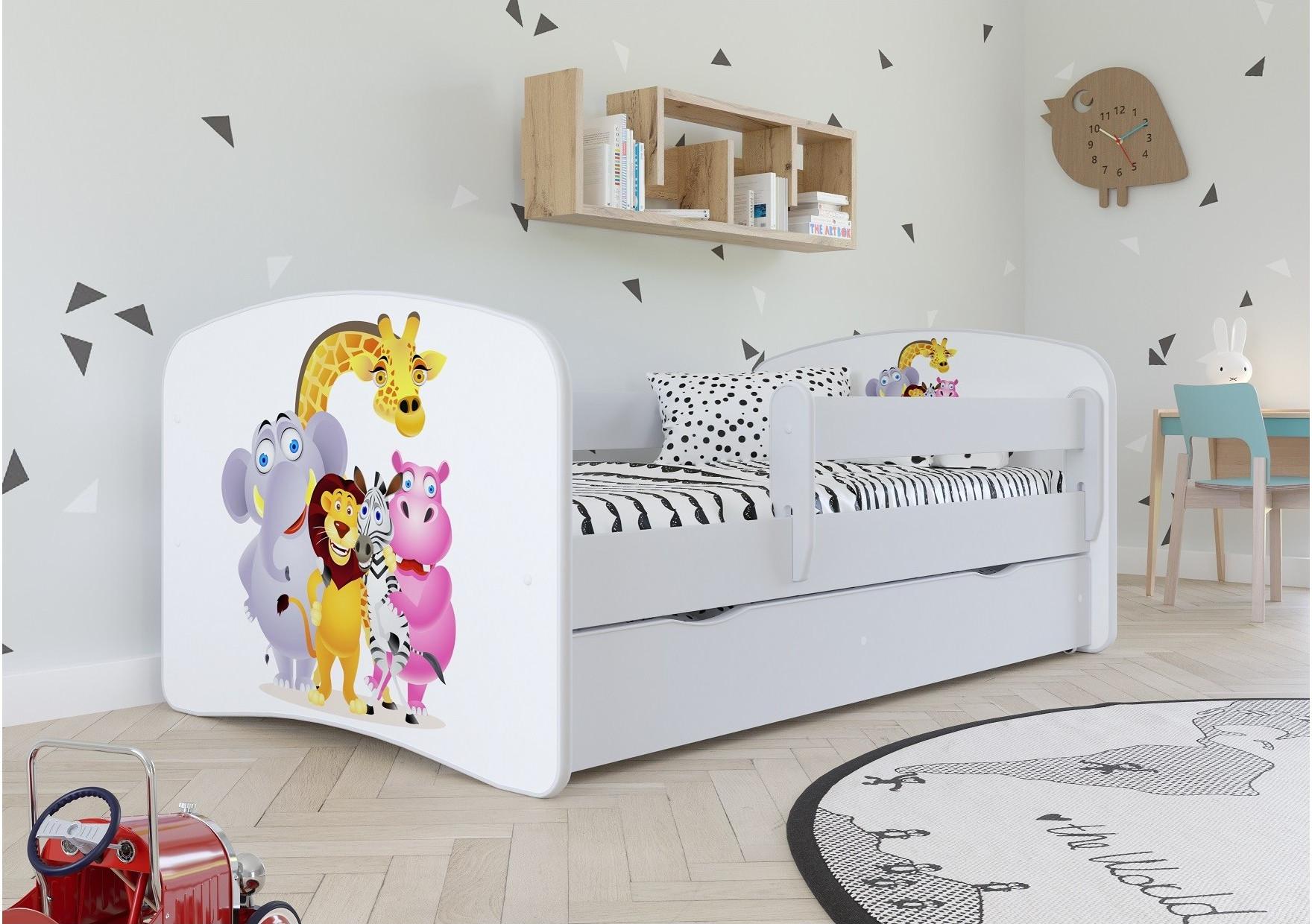 Łóżko dziecięce dla chłopca z grafiką Zoo