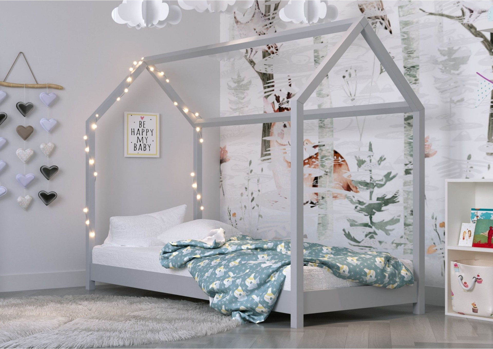 Łóżko domek szare